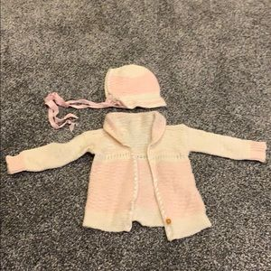 Vintage baby girl sweater and hat